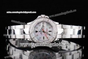 Yacht-Master Ladies 168622SMD SS White MOP Dial on Steel Bracelet A2813