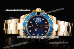 Submariner 116618-bl YG Blue Dial on Yellow Gold Bracelet - A2813
