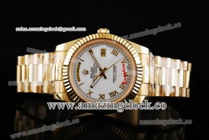 Day Date II 218238-wrp YG White Dial on Yellow Gold Bracelet - A2813
