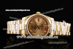 Day Date II 218238-chdp YG Gold Dial on Yellow Gold Bracelet - A2813
