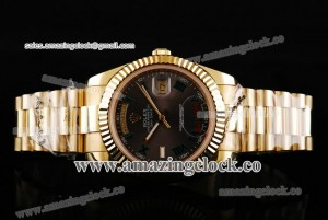 Day Date II 218238-bkrp YG Coffee Dial on Yellow Gold Bracelet - A2813