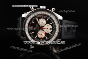 Chrono-Matic SS Black Dial on Black Rubber Strap A7750/500-F34