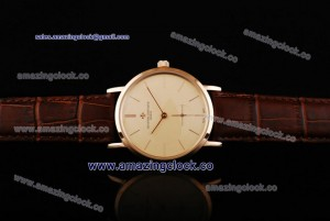 Patrimony 88172/000P-94953 RG Beige Dial on Brown Leather Strap - AST17 With 6Sec