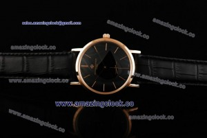 Patrimony 88172/000P-94955 RG Black Dial on Black Leather Strap - AST17 With 6Sec