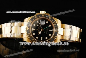 Rolex GMT-Master II 40MM 116612 YG Black Dial on Yellow Gold Bracelet - A2813