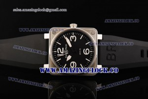 BR 01-92 SS Black Dial on Black Rubber Strap A4813