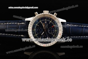 Navitimer World SS Blue Dial on Blue Leather Strap ASPS53