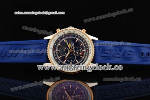 Navitimer World SS Blue Dial on Blue Rubber Strap A2L27