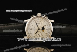 Grand Complication 5790R-T SS White Dial on Black Leather Strap - Copy venus 75/ST1908