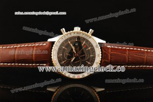 Navitimer World SS Brown Dial on Brown Leather Strap ASPS53