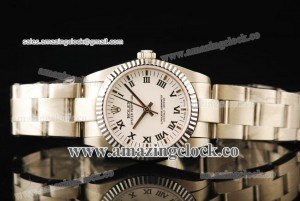 Oyster Perpetual No-Date 176234G SS Fluted Bezel White Dial on Steel Bracelet - A2813