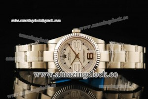 Oyster Perpetual No-Date 177450 SS Fluted Bezel White Dial on Steel Bracelet - A2813