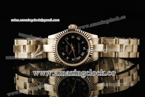 Oyster Perpetual No-Date Ladies 1762354G SS Fluted Bezel Black Dial on Steel Bracelet - A2813