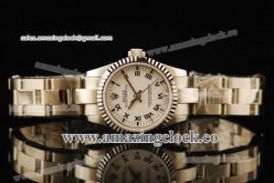 Oyster Perpetual No-Date Ladies 1762434G SS Fluted Bezel White Dial on Steel Bracelet - A2813
