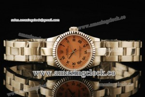 Oyster Perpetual No-Date Ladies 176232G SS Fluted Bezel Champagne Dial on Steel Bracelet - A2813