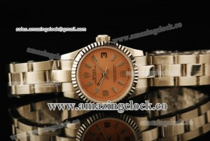 Oyster Perpetual No-Date Ladies SS Fluted Bezel Champagne Dial on Steel Bracelet - A2813