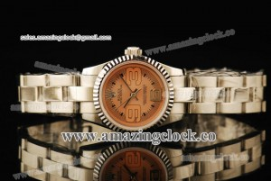 Oyster Perpetual No-Date Ladies 177900 SS Fluted Bezel Champagne Dial on Steel Bracelet - A2813