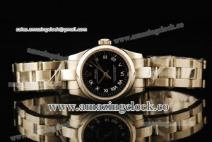 Oyster Perpetual No-Date Ladies 1762312G SS Black Dial on Steel Bracelet - A2813