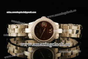 Datejust 26MM Lady 179384 brdro SS/Diamond Brown Dial on Steel Bracelet - A2813