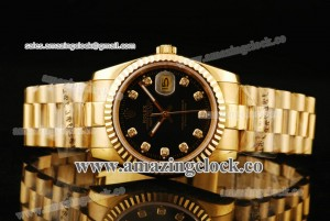 Datejust President 116238-bkdp YG Black Dial on Yellow Gold Bracelet - A2813