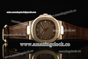 Nautilus 5711/19A 1:1 SS Brown Dial on Brown Leather Strap - A2824