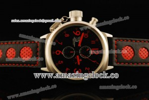 Flightdeck Red Markers SS Black Dial on Black Leather Strap A2813