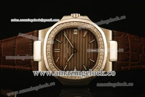 Nautilus 5713/51G SS/Diamond Brown Dial on Brown Leather Strap - A2824