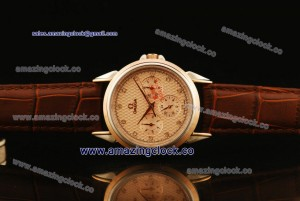 De Ville Co-Axial TT Pink Dial on Brown Leather Strap - ASPS52