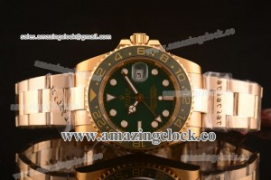 Rolex GMT-Master II 40MM 1661321 YG Green Dial on Yellow Gold Bracelet - A2813