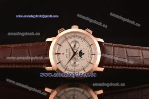 Patrimony 88172/000P-94973 RG White Dial on Brown Leather Strap - AST25