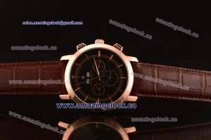 Patrimony 88172/000P-94974 RG Black Dial on Brown Leather Strap - AST25
