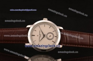Patrimony 87172/000G-9301 SS White Dial on Brown Leather Strap - AST17 With 6Sec