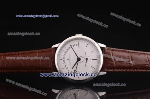 Patrimony Contemporaine Bi-Retrograde Day Date 86020/000p-9322 SS White Dial on Brown Leather Strap - AST25