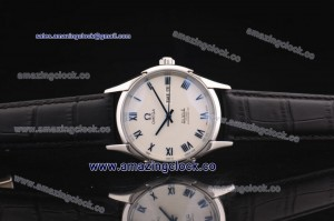 De Ville Co-Axial SS White Dial on Black Leather Strap - A2813