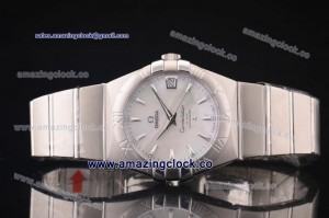 Constellation Gents 38mm SS White MOP Dial on Steel Bracelet - A2813
