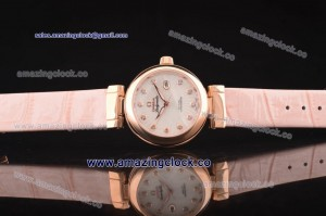 1:1 Copy De Ville Ladymatic RG White Coral Design MOP Dial on Pink Leather Strap - A2671
