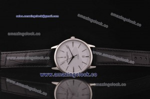 Patrimony Contemporary 85180/000g-9230 SS White Dial on Black Leather Strap - AST17 With 6Sec