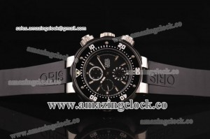 Carlos Coste Chrono SS Black Dial ON Rubber Strap - A7750/4041