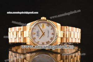 Datejust President 116238-wrp YG White Dial on Yellow Gold Bracelet - A2836