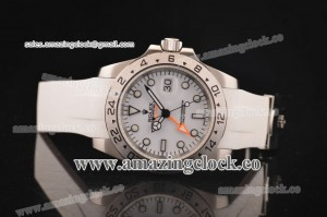 Rolex Explorer 16570 wr SS White Dial on Rubber Strap - A2813