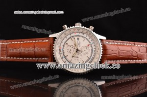 Navitimer World SS White Dial on Brown Leather Strap ASPS53