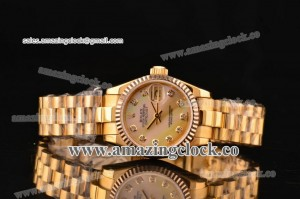 Datejust 31MM Lady 179178 wmdp YG Pink Mop Dial on Yellow Gold Bracelet - A2813