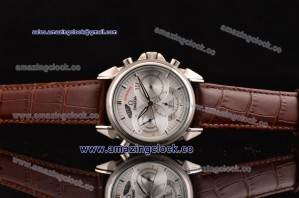 De Ville Co-Axial Rattrapante SS Silver Dial on Brown Leather Strap - AST22