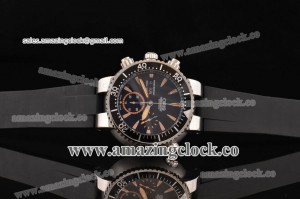 Carlos Coste Chronograph SS Black Dial on Black Rubber Strap - A7750/4144