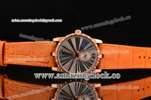 Excalibur 36 RG Silver Dial on Leather Strap - OS2064 Quartz
