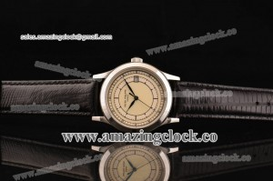 Calatrava 5296A SS Beige Dial on Black Leather Strap - A2824