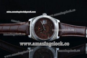 Sky-Dweller 326939 brrbr SS Brown Dial on Brown Leather Strap - A2813