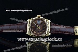 Sky-Dweller 326938 brrbr YG Brown Dial on Brown Leather Strap - A2813