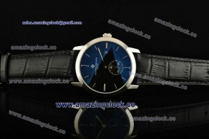 Patrimony 82172/000A SS Black Dial on Black Leather Strap - AST17 With 6@Sec