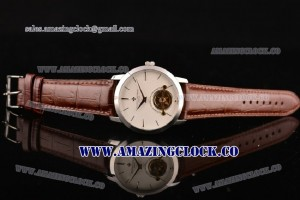 Patrimony SS White Dial on Brown Leather Strap - ARL18